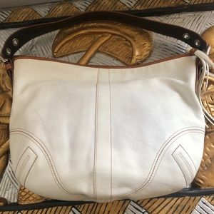 Coach off white hobo leather purse